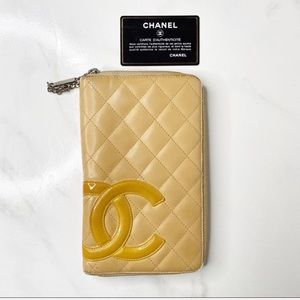 Chanel Large Jumbo Quilted Beige Zippy Wallet